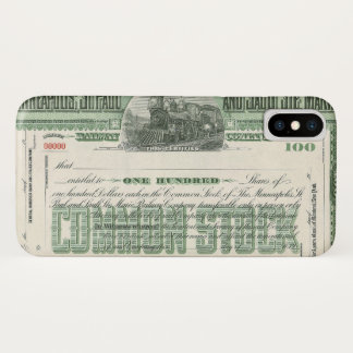 Vintage Common Stock Certificate, Business Finance iPhone X Case