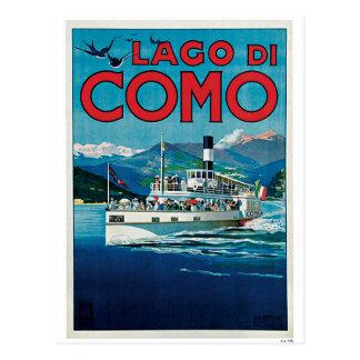 Vintage Como Lake Italian travel advert Postcard