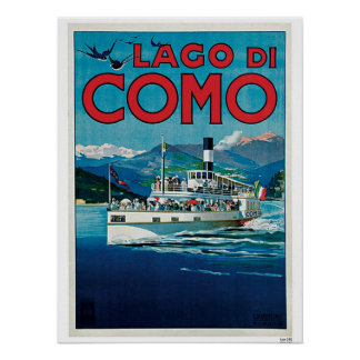 Vintage Como Lake Italian travel advert Poster