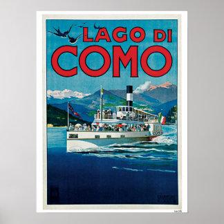 Vintage Como Lake Italian travel advert Poster