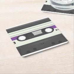 Vintage 80s Compact Cassette tape Square Coaster