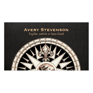 Vintage Compass Black Linen Look Finance Pack Of Standard Business Cards