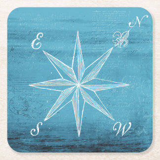 Vintage compass blue coaster