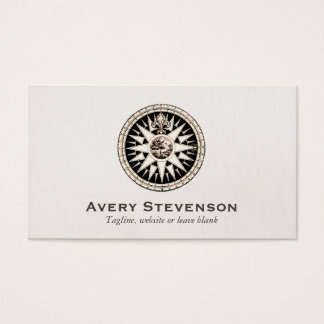 Vintage Compass Logo Professional Linen Look Business Card