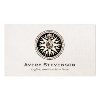 Vintage Compass Logo Professional Linen Look Pack Of Standard Business Cards
