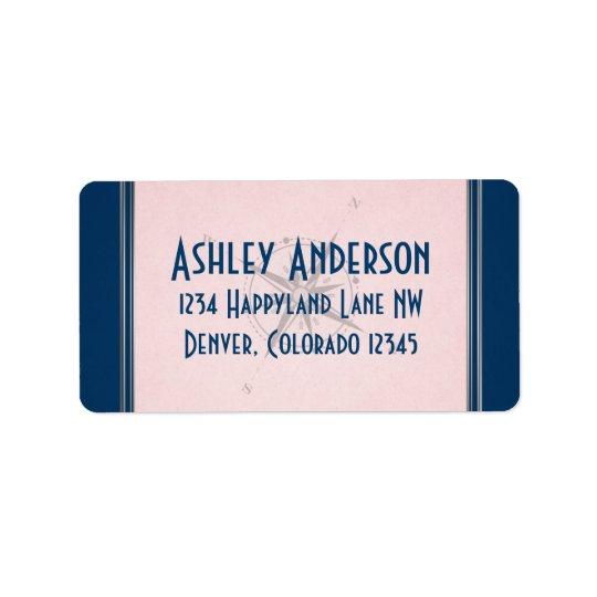Vintage Compass Navy Pink Grey Wedding Address Address Label