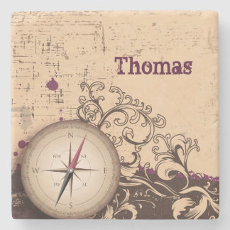 Vintage Compass Personalized Stone Coaster