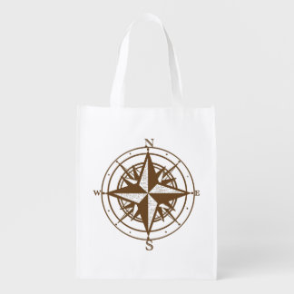 Vintage Compass Reusable Grocery Bag