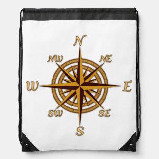 Vintage Compass Rose Cinch Bags
