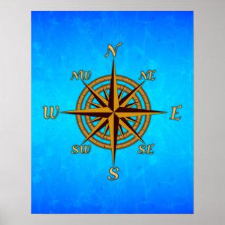 Vintage Compass Rose Poster
