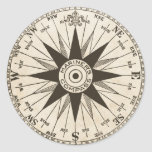 Vintage Compass Rose Round Stickers