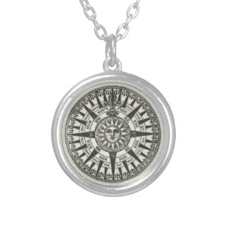 Vintage Compass Rose Sun Silver Plated Necklace