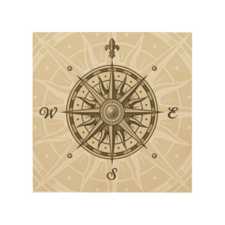 Vintage Compass Rose Wood Wall Art