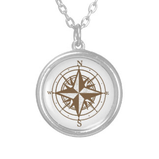 Vintage Compass Silver Plated Necklace