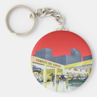 Vintage Complete Car Service Garage Auto Mechanics Basic Round Button Key Ring
