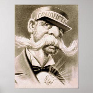 Vintage Conductor Huge Mustache Retro Poster