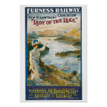 Vintage Coniston Water, Furness railway travel ad Poster