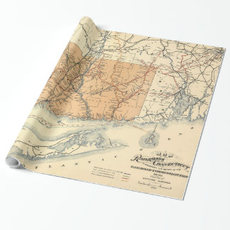 Vintage Connecticut Railroad Map (1893) Wrapping Paper