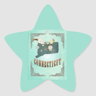 Vintage Connecticut State Map – Turquoise Blue Star Stickers