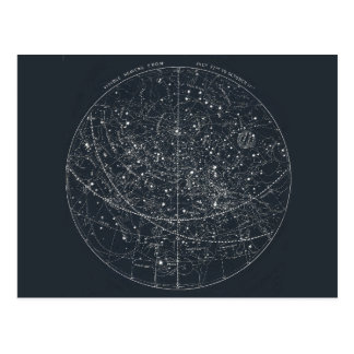 Vintage Constellation Map Postcard