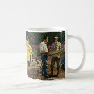 Vintage Construction Business Architect Contractor Basic White Mug