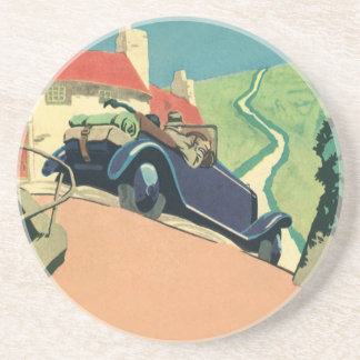 Vintage Convertible Car on a Country Road Drink Coaster