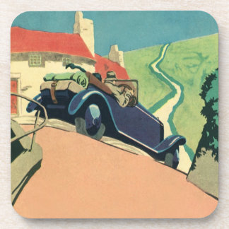 Vintage Convertible Car on a Country Road Drink Coasters