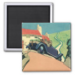 Vintage Convertible Car on a Country Road Refrigerator Magnets