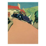 Vintage Convertible Car on a Country Road Poster