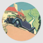 Vintage Convertible Car on a Country Road Round Sticker