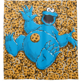 Vintage Cookie Monster and Cookies Shower Curtain