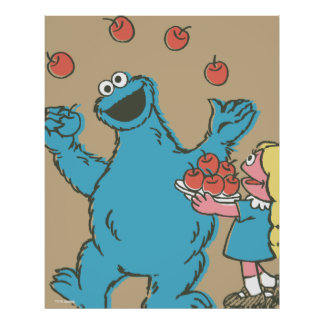 Vintage Cookie Monster and Prairie Dawn Poster