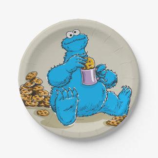 Vintage Cookie Monster Eating Cookies 7 Inch Paper Plate