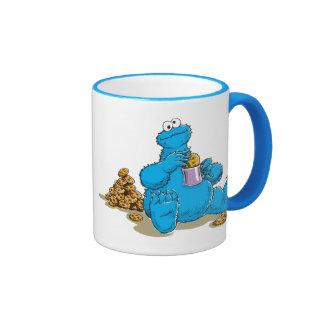 Vintage Cookie Monster Eating Cookies Ringer Mug
