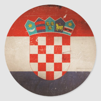 Vintage Cool Grungy Croatia Flag Design Round Sticker
