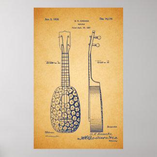 Vintage Cool Ukulele Patent Art Poster