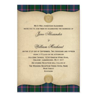 Vintage Cooper Ancient Tartan Plaid Wedding 13 Cm X 18 Cm Invitation Card