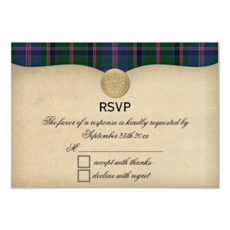 Vintage Cooper Ancient Tartan Plaid Wedding RSVP Card