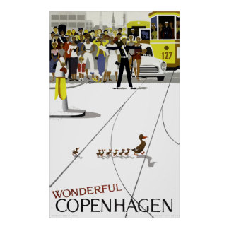 Vintage Copenhagen Denmark Ducks Crossing Road Poster