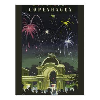 Vintage Copenhagen Travel Poster Postcard