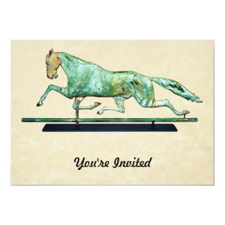 Vintage Copper Galloping Horse Weathervane 5x7 Paper Invitation Card