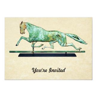 Vintage Copper Galloping Horse Weathervane 13 Cm X 18 Cm Invitation Card