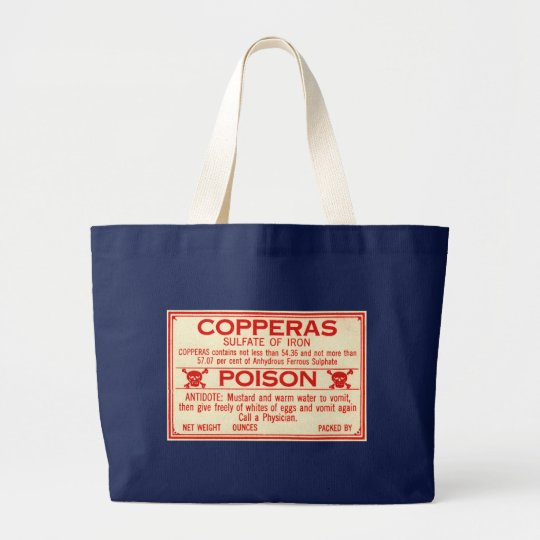 Vintage Copperas Sulphate of Iron Poison Label Large Tote Bag
