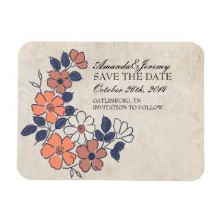 Vintage Coral and Navy Floral Save The Date Rectangle Magnets