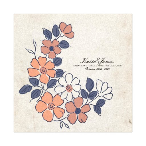 Vintage Coral and Navy Floral Wedding Stretched Canvas Print