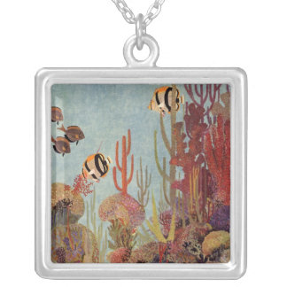 Vintage Coral and Tropical Angelfish Fish in Ocean Square Pendant Necklace