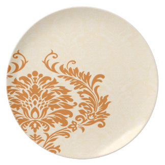 Vintage Coral Cream and White Damask Plate