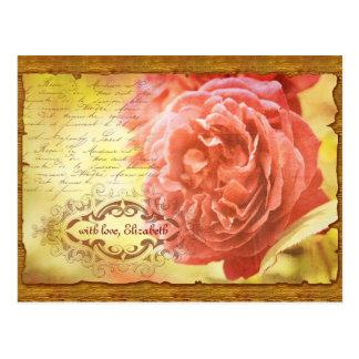 Vintage Coral Pink Rose Handwritting Ornate Frame Postcard
