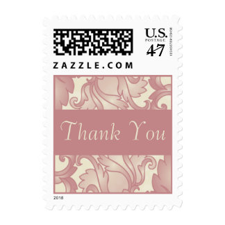 Vintage Coral Rose Cream Thank You Custom Postage