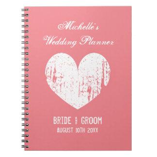 Vintage coral wedding planner organizer notebook